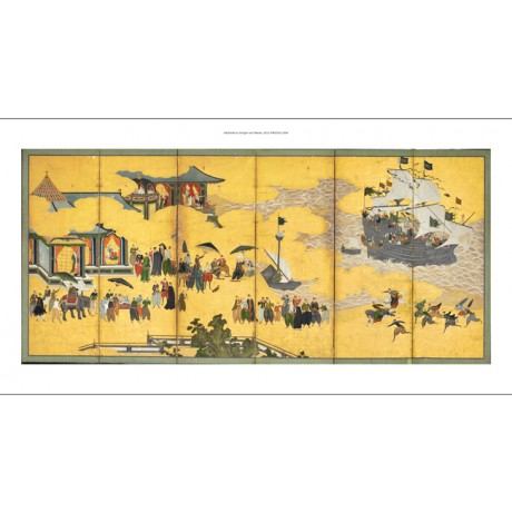 "FABULOUS CANVAS ""Southern Barbarians Come to Trade"" SHIPS elephant KANO NAIZEN"