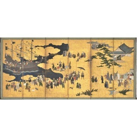 "FINE CANVAS PRINT ""Southern Barbarians Come to Trade"" GOLD sea dog KANO NAIZEN"