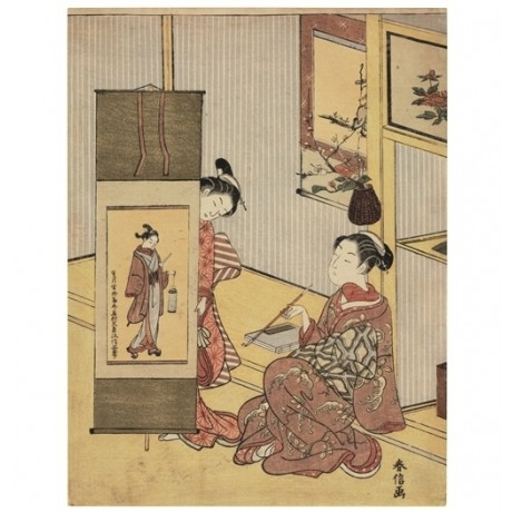 ATTRACTIVE CANVAS Admiring a Picture of a Dandy COURTESAN pipe SUZUKI HARUNOBU