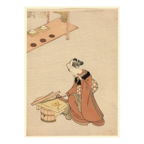 "APPEALING CANVAS PRINT ""Seven-herb Porridge for New Year"" WOMAN chopping CANVAS"