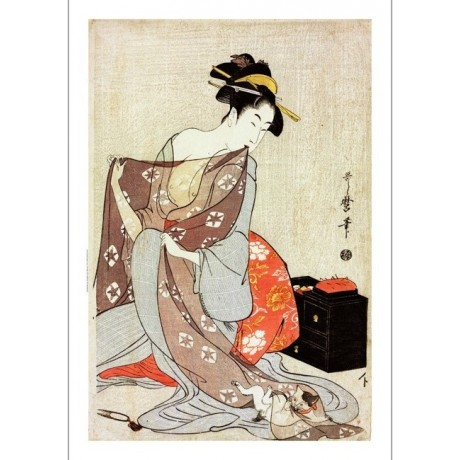 "ADORABLE CANVAS PRINT ""Needlework"" PLAYING cat robe purple sew KITAGAWA UTAMARO"