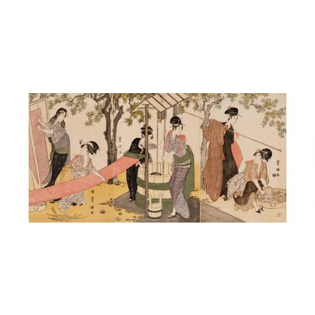 "UTAGAWA TOYOKUNI ""Girls Washing"" drawing water STRETCHING cloth CANVAS PRINT"