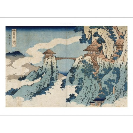 "HOKUSAI ""Cloud Hanging Bridge"" RARE views trees blue japanese NEW CANVAS PRINT"