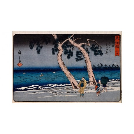 "ANDO HIROSHIGE ""Hamamatsu"" sea BOATS waves coastline blue basket CANVAS PRINT"