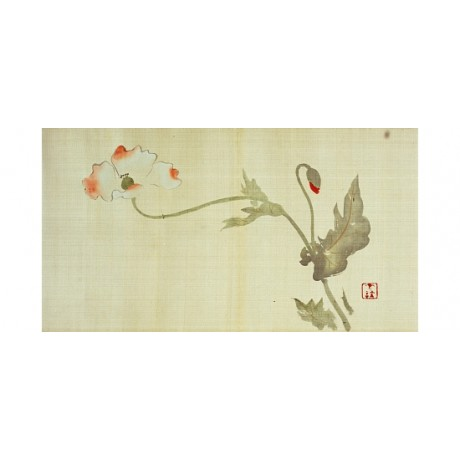 "HOITSU ""Poppy, Kanzan and Jittoku"" MOUNT fuji primrose gold NEW CANVAS PRINT"