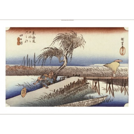 "ANDO HIROSHIGE ""Mie River Near Yokkaichi"" CANVAS ART ! various SIZES, BRAND NEW"