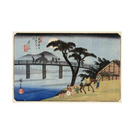 "ANDO HIROSHIGE ""Nagakubo"" Horse Japan Art Print choose your SIZE, from 55cm up"