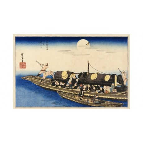 "ANDO HIROSHIGE ""Yodo River"" Boat Japan Art Print choose your SIZE, from 55cm up"