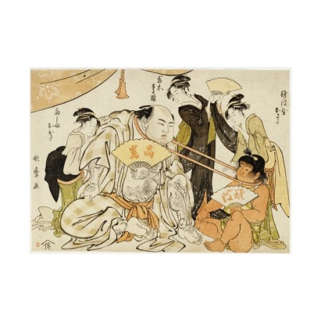"KITAGAWA UTAMARO ""Game Of Neck Pull"" Japan PRINT choose your SIZE, from 55cm up"