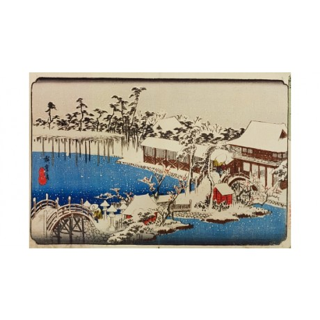"CANVAS PRINT ""Snow at Kameido Tenman Shrine"" water wheel field ANDO HIROSHIGE"