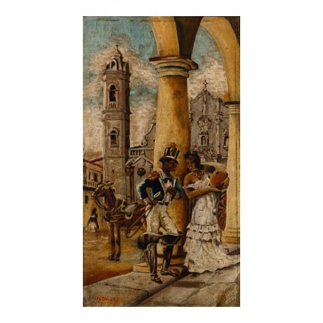 LANDALUZE Cortejo en la Plaza CUBAN courting seducing boot uniform CANVAS PRINT