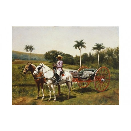 "MORALES ""Cuban Landscape With Horseback Rider"" cart palm stetson CANVAS PRINT"