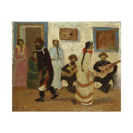 "PEDRO FIGARI ""Creole Dance"" ETHNIC traditional guitar music south CANVAS PRINT"