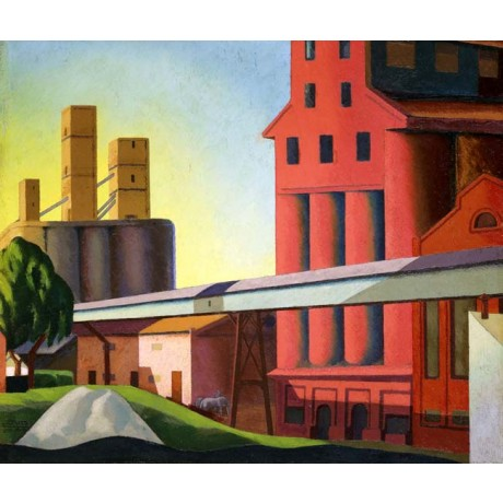 "ALFREDO GUTTERO ""Elevators"" INDUSTRIAL buildings URBAN red yellow NEW ON CANVAS"