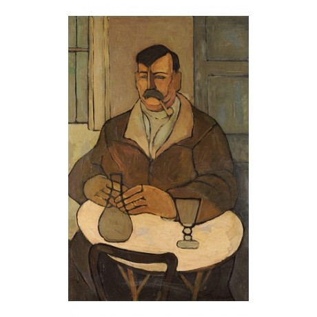 "PEREZ BARRADAS ""Man In A Cafe"" ON CANVAS Portrait choose SIZE, from 55cm up, NEW"
