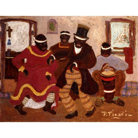 PEDRO FIGARI African Nostalgia (Candombe) DANCING couple drummer CANVAS PRINT!