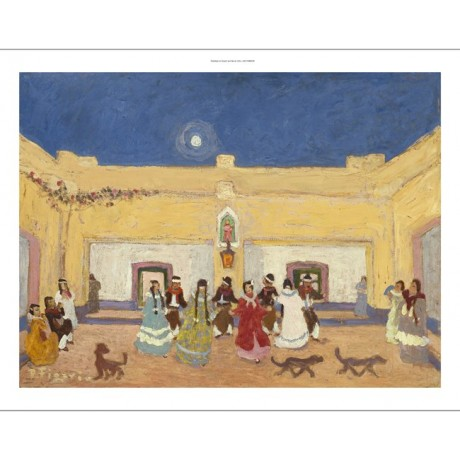 "PEDRO FIGARI ""Creole Dance"" music MOONLIGHT courtyard dogs sky CANVAS PRINT"