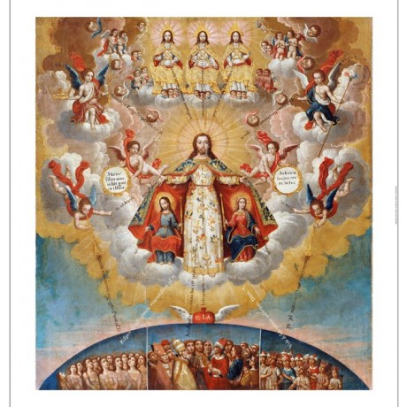"CUZCO SCHOOL ""Celestial Court"" ON CANVAS Religious choose SIZE, from 55cm up"