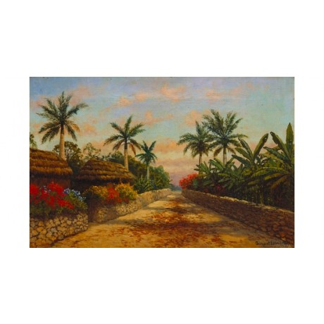 "LOHR ""Camino con Palmeras"" street palms flowers PERSPECTIVE exotic CANVAS PRINT"