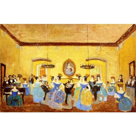 PEDRO FIGARI The Colonial Minuet BALLGOWN ballroom dancing couple CANVAS PRINT