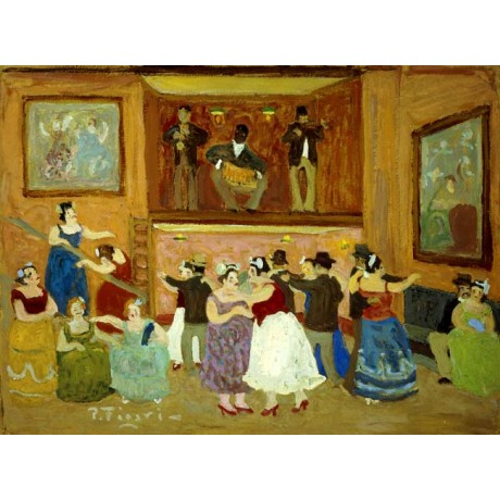 "PEDRO FIGARI ""Cabaret"" DANCING couples squeezebox musician stage CANVAS PRINT"