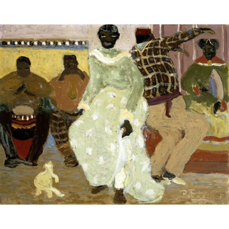 "PEDRO FIGARI ""Candombe"" RHYTHM uruguay dancing drumming enjoyment CANVAS PRINT"