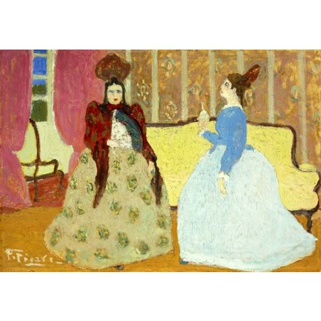 PEDRO FIGARI Tea; El Mate FASHIONABLE women hoop skirt headdress CANVAS PRINT!