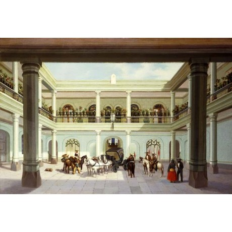 JOSE AGUSTIN ARRIETA Courtyard View carriage ARRIVAL sunlight balcony men NEW!