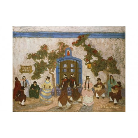 "PEDRO FIGARI ""Baile Criollo"" MEXICAN dance lantern plaits outside CANVAS PRINT"