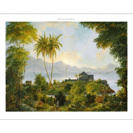 "FRITZ MELBYE ""Cinnamon Bay, Danish West Indies"" house LOOKING out to sea CANVAS"