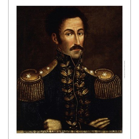 COLOMBIAN SCHOOL Portrait of Simon Bolivar military QUESTIONNING epaulette NEW