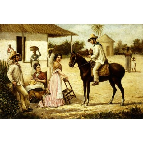 VICTOR PATRICIO LANDALUZE Family of Peasants at the Door of the Barn life NEW!