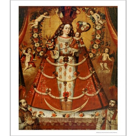 "CUZCO SCHOOL ""Our Lady Of Rosary"" Religious Print choose SIZE, from 55cm up, NEW"