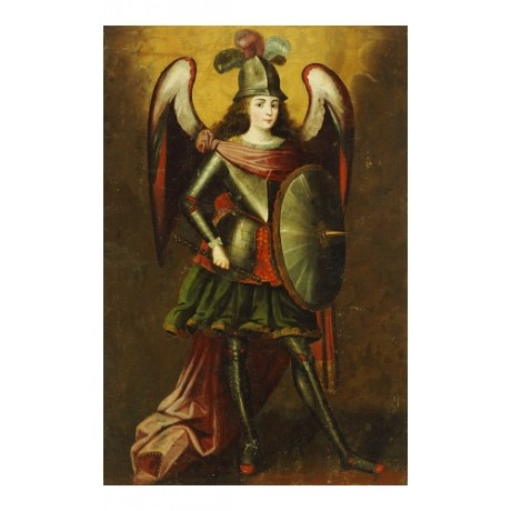 "CUZCO SCHOOL ""Archangel Michael"" print religious choose SIZE, from 55cm up, NEW"