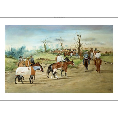 "ERNESTO ICAZA ""The Winners Enclosure"" HORSES on CANVAS! various SIZES, BRAND NEW"