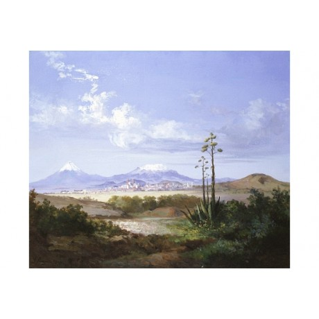 "SALVADOR MURILLO ""City Of Pueblo With Volcanoes"" CANVAS various SIZES, BRAND NEW"