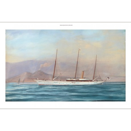 "ANTONIO DE SIMONE ""Royal Steam Yacht Aries Off Naples"" various SIZES, BRAND NEW"