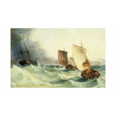"MEADOWS ""Race for Derelict"" ocean STORM urgency sails rough waves CANVAS PRINT"