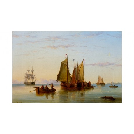"REDMORE ""Fishing Boats On The Scheldt"" VESSELS twilight rotterdam CANVAS PRINT"
