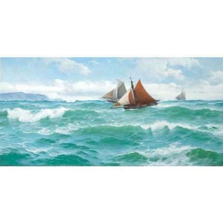 "DAVID JAMES ""With the wind and tide"" SAILING boats at sea waves sky sails NEW!!"