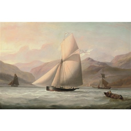 JOHN SCHETKY Cutter Yacht Nymph in Scottish Waters sail highlands CANVAS PRINT