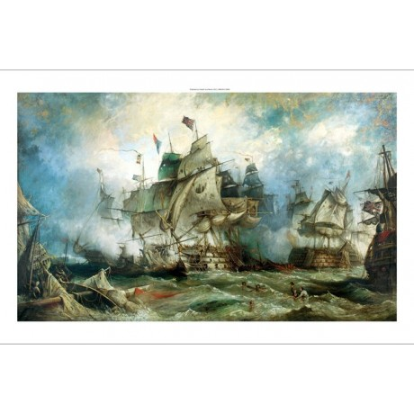 "WILLIAM STUART ""Trafalgar: The Heat of the Action"" battle navy NEW CANVAS PRINT"