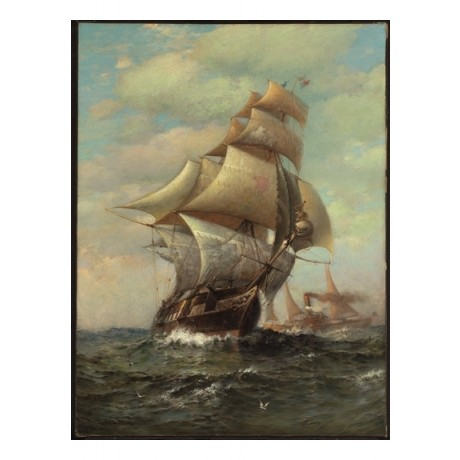 "JAMES GALE TYLER ""Sails & Steam, 1888"" SEA mast window ship waves NEW CANVAS"
