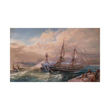 JACKSON Stormy Weather rough sea WAVES whitby ship children CANVAS PRINT giclee