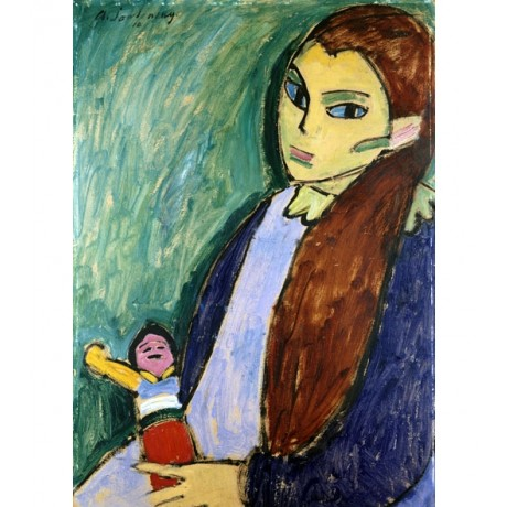 "ALEXEJ VON JAWLENSKY ""Girl with Doll"" BRUNETTE long hair looking CANVAS PRINT"