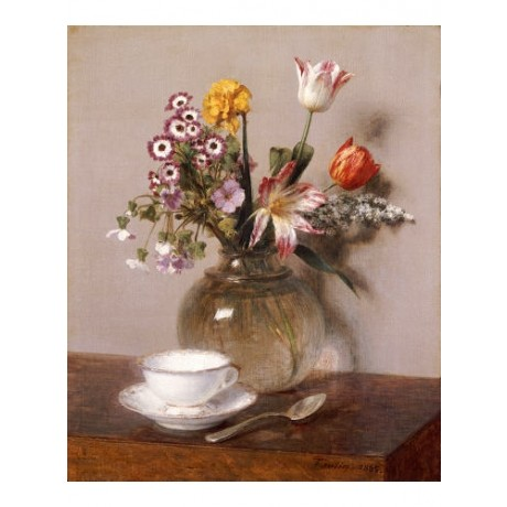 HENRI FANTIN-LATOUR Vase Of Flowers print ON CANVAS various SIZES available, NEW