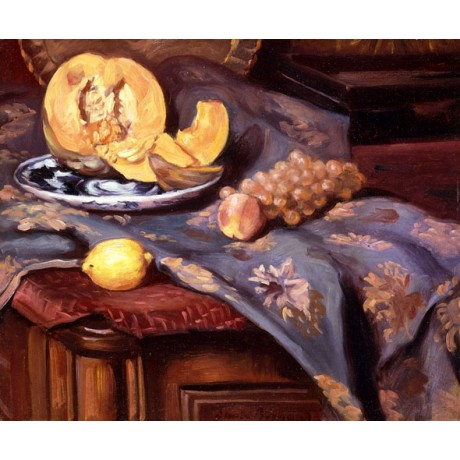 EMILE BERNARD Still-life melon SLICES grapes peach purple cloth VISIT our SHOP