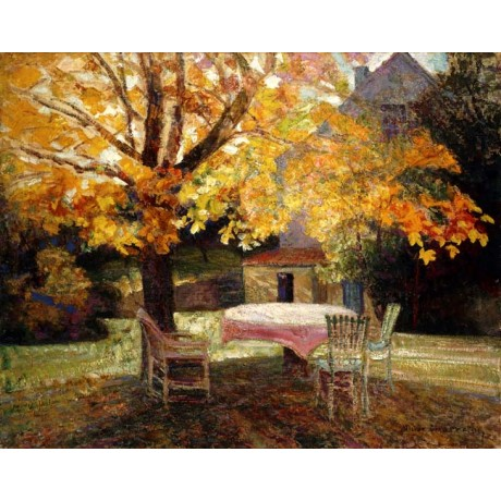 VICTOR CHARRETON The Terrace, Autumn sunlight ABSENCE chairs table trees NEW!!