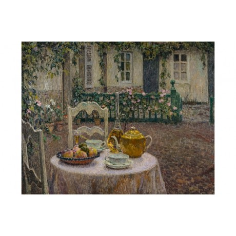 SIDANER Nappe Rose Pink Tablecloth tea teapot GOLD bowl fruit NEW CANVAS PRINT