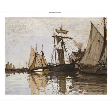 "CLAUDE MONET ""Port Of Honfleur"" Ship CANVAS ART ! choose SIZE, from 55cm up, NEW"
